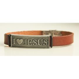 Браслет кожаный коричневый с серой металлической пластиной и металлической застежкой I love Jesus (БиС2к-38)