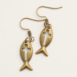 Серьги под бронзу, Рыбка с крестиком (СКСк-33)