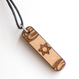 Кулон деревянный на шнурке - Звезда Давида