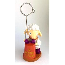 Подставка-зажим для фото, поликерамика - Да благословит тебя Господь! (овечка с подарком)