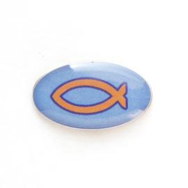Значок на цанге - Оранжевая рыбка на синем фоне