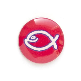 Значок на цанге - Белая юмористическая  рыбка на красном фоне