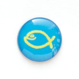 Значок на цанге - Желтая юмористическая  рыбка на голубом фоне