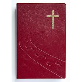 """Библия (14х21,3 см, гибкий переплёт, бордо с рельефом, дизайн """"дорога ко Кресту"""", 2 закладки, слова Иисуса выделены жирным, крупный шрифт)"""